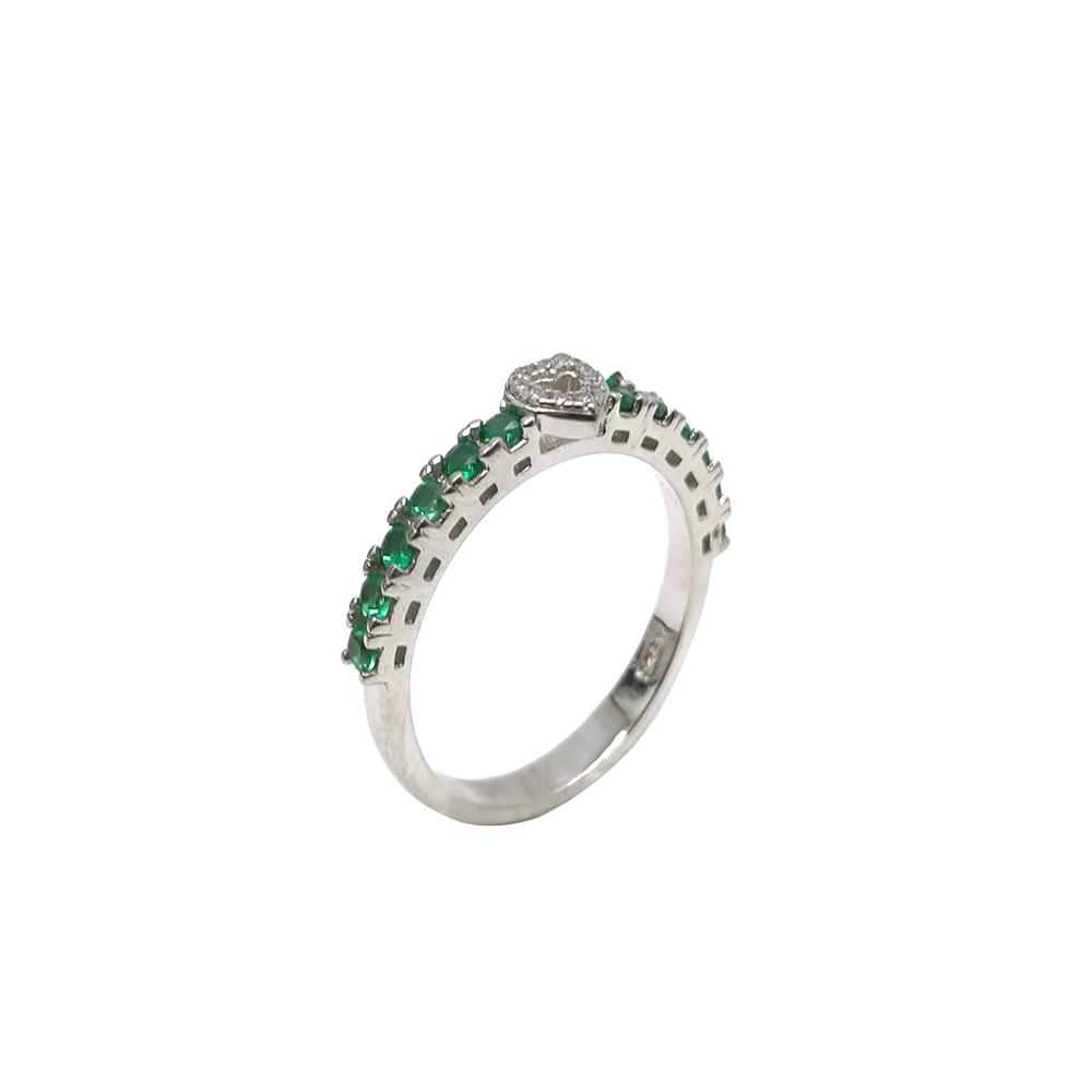 Anel Aparador com Pedras Verdes em Prata