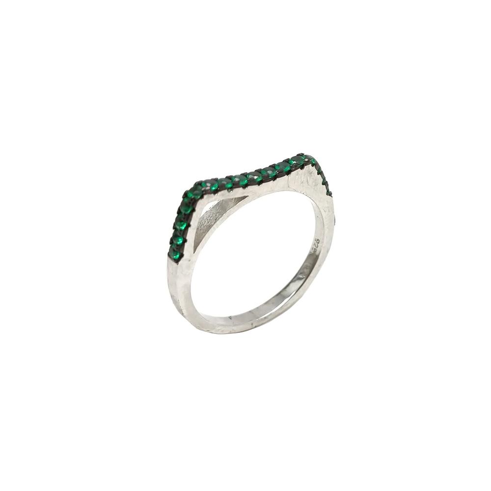 Anel Aparador  em Prata com Formato Quadrado e Pedras Verdes
