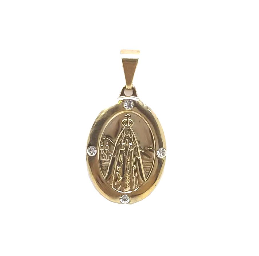 Medalha N.S Aparecida 4 pedras de zircônia  folheada 18k