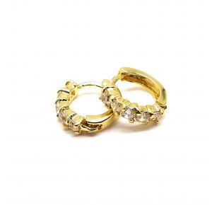 Argola Pequena com Pedras de Zircônia Folheada a Ouro 18K