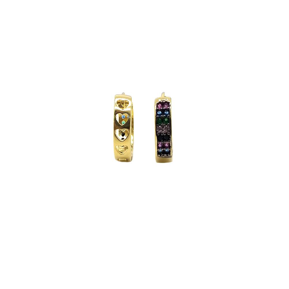 Argola Pequena Colorida Folheada a Ouro 18K