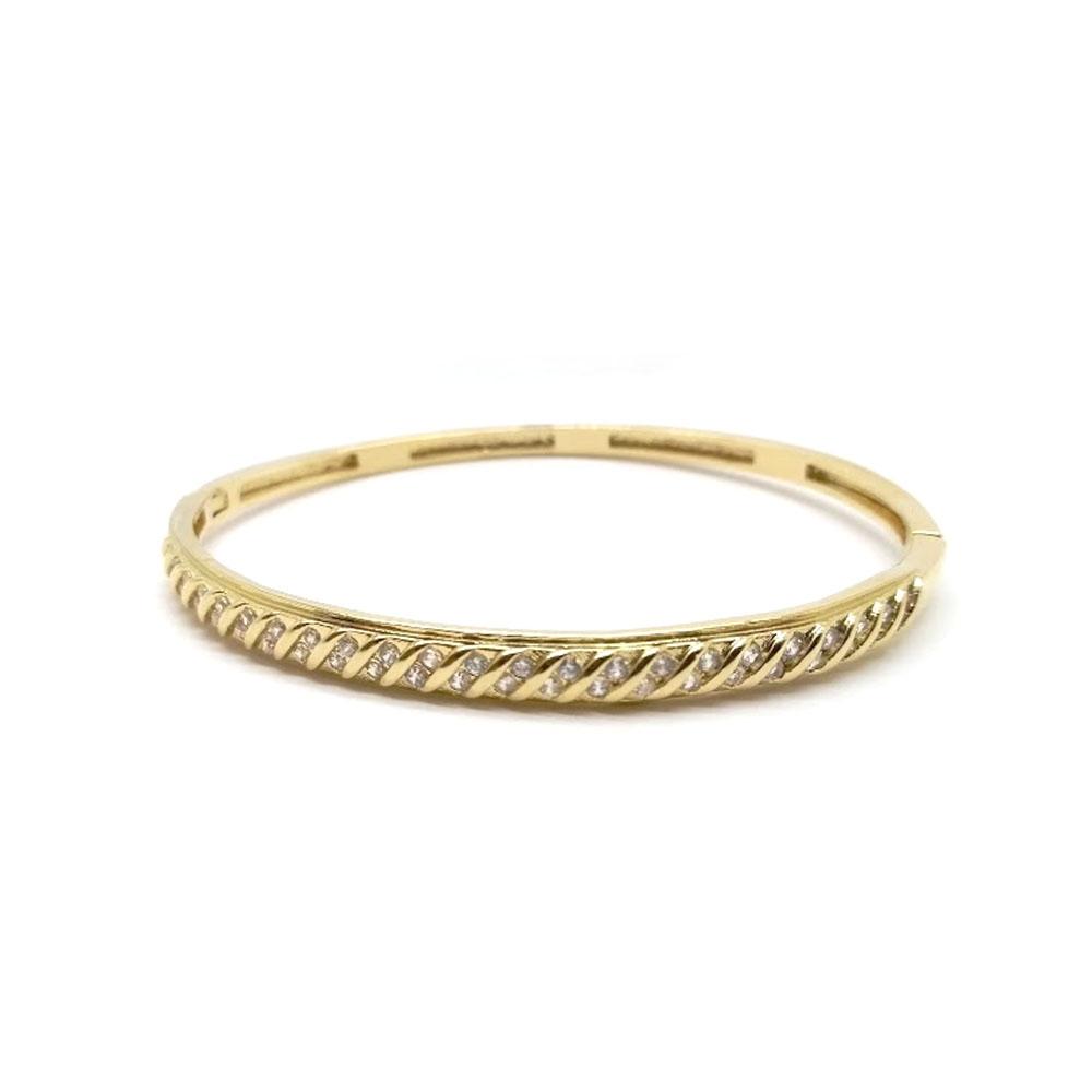 Bracelete Feminino Folheado a Ouro 18k Cravejado com Zircônias
