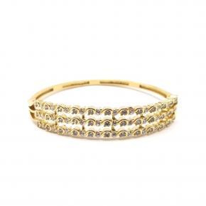 Bracelete Feminino Triplo Folheado a Ouro 18k Cravejado com Zircônias