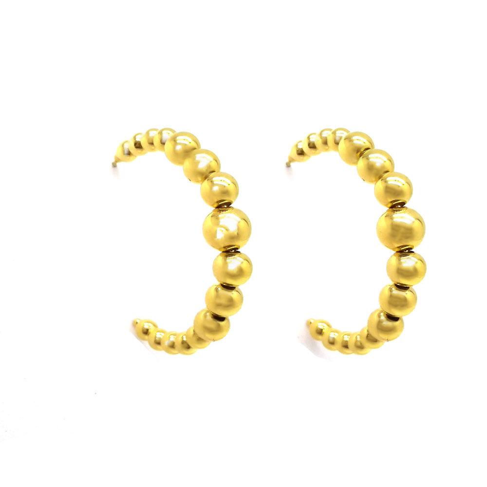 Brinco Argola de Bolinhas Folheado a Ouro 18K