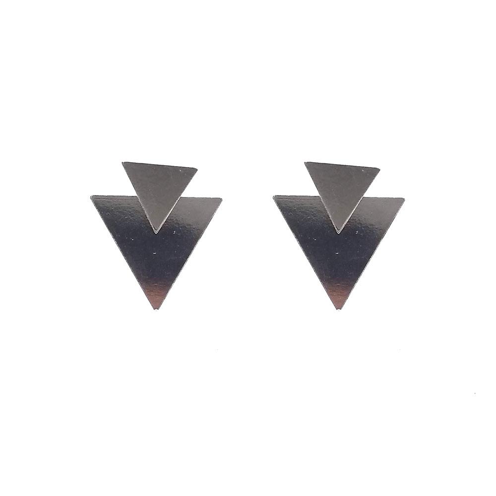 Brinco Pequeno Dois Triângulos em Prata