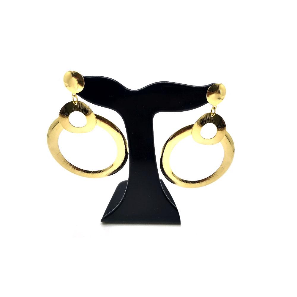 Brinco Pêndulo de Círculos Folheado a Ouro 18K