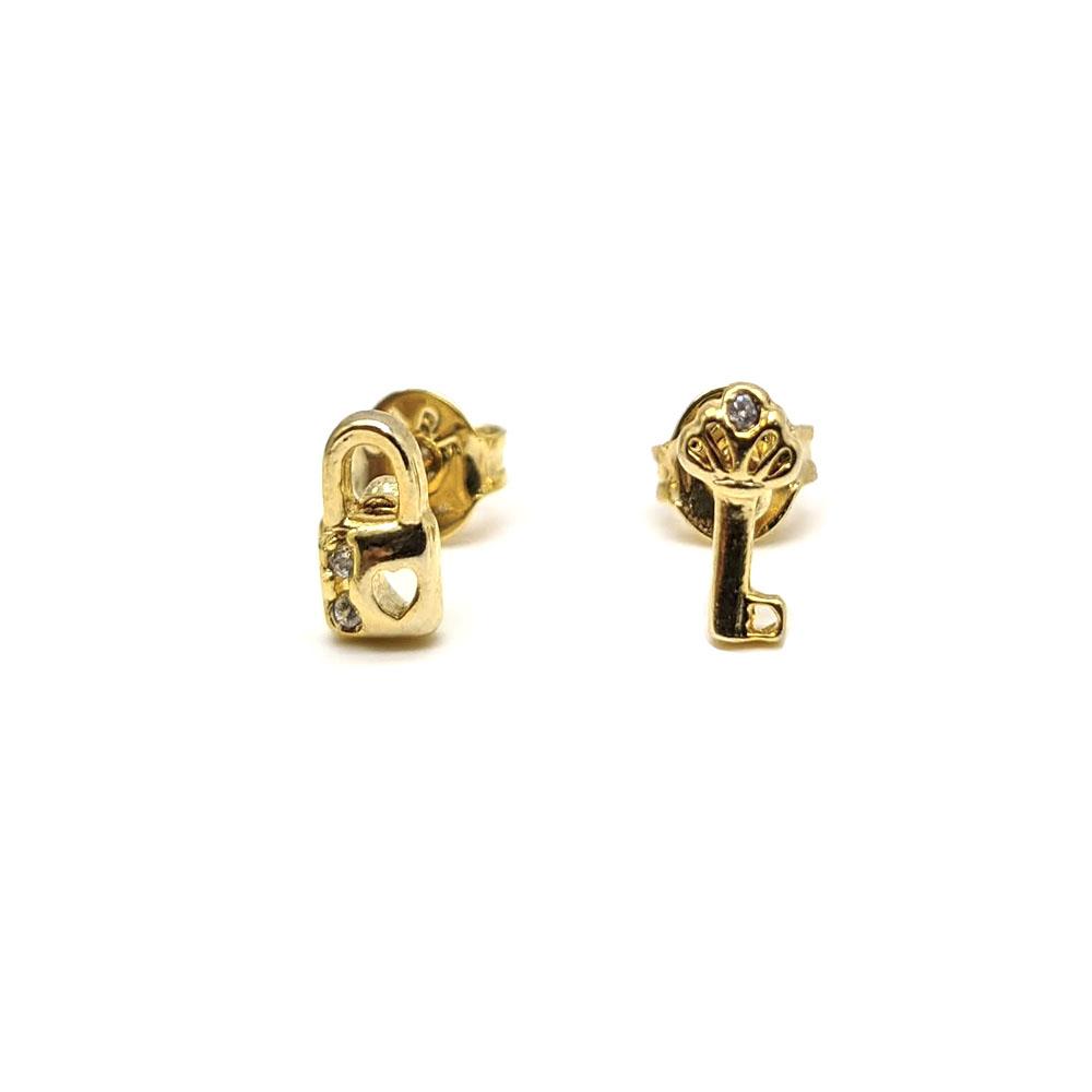 Brinco Infantil Chave e Cadeado Folheado a Ouro 18K