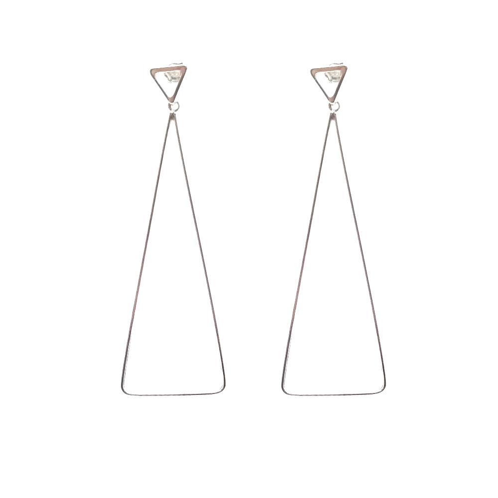 Brinco Longo Dois Triângulos em Prata