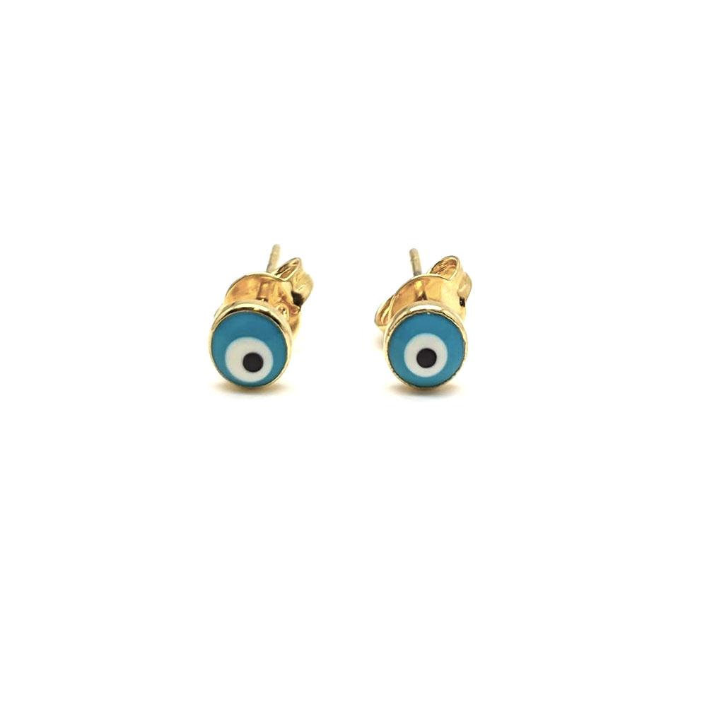 Brinco Infantil de Olho Grego Folheado a Ouro 18K