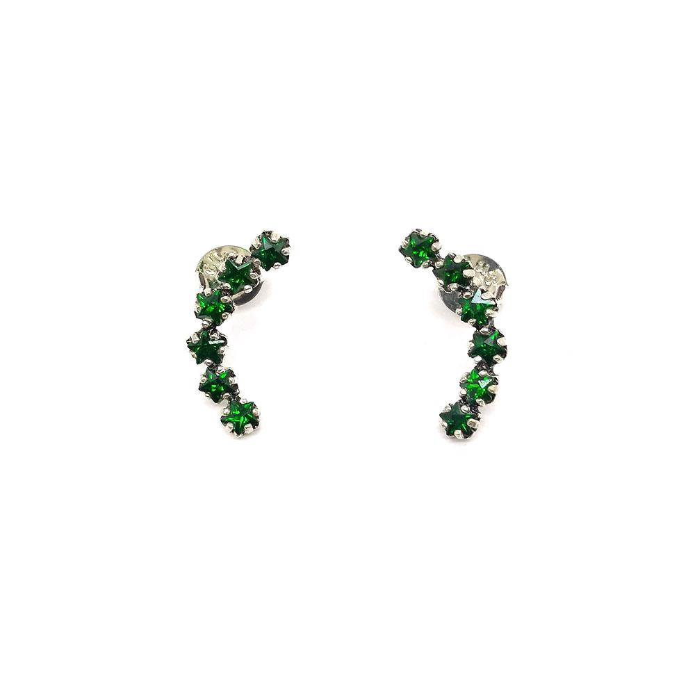 Brinco Ear Cuff com Pedras Verdes em Prata