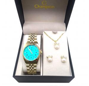 Kit Relógio Champion CH24777Y + Conjunto de Brincos e Colar