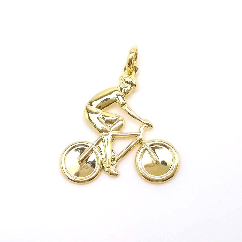 Pingente Ciclista Folheado a Ouro 18k