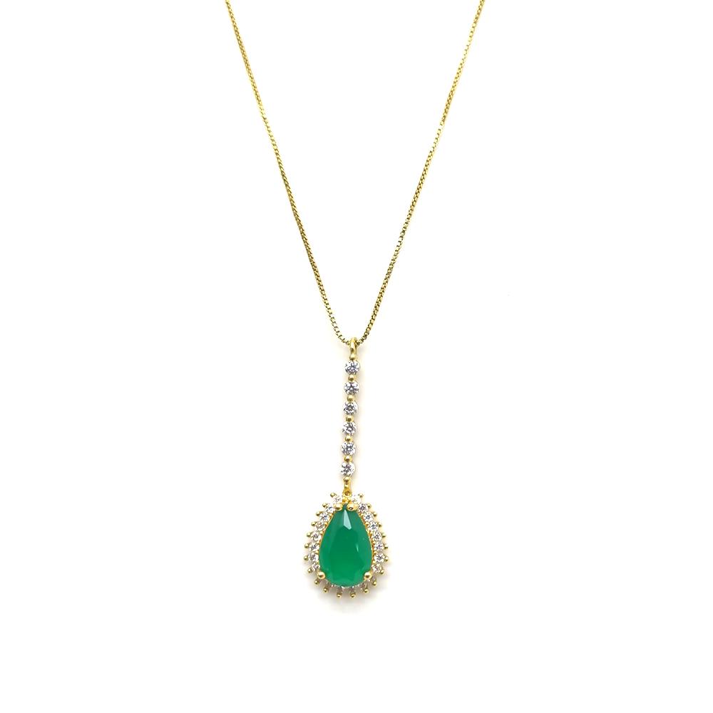 Gargantilha Feminina com Pedra Verde em Formato de Gota Folheada a Ouro 18K