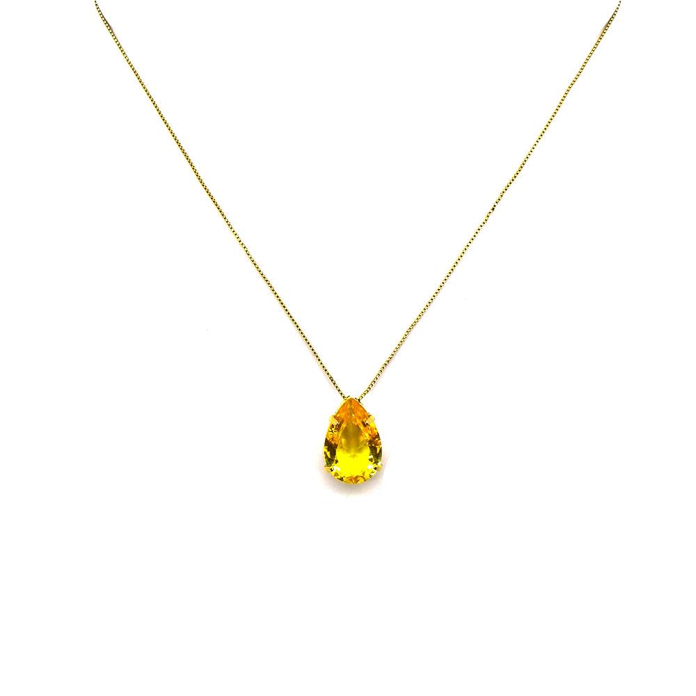 Gargantilha Com Pedra Gota Amarela Folheada a Ouro 18K