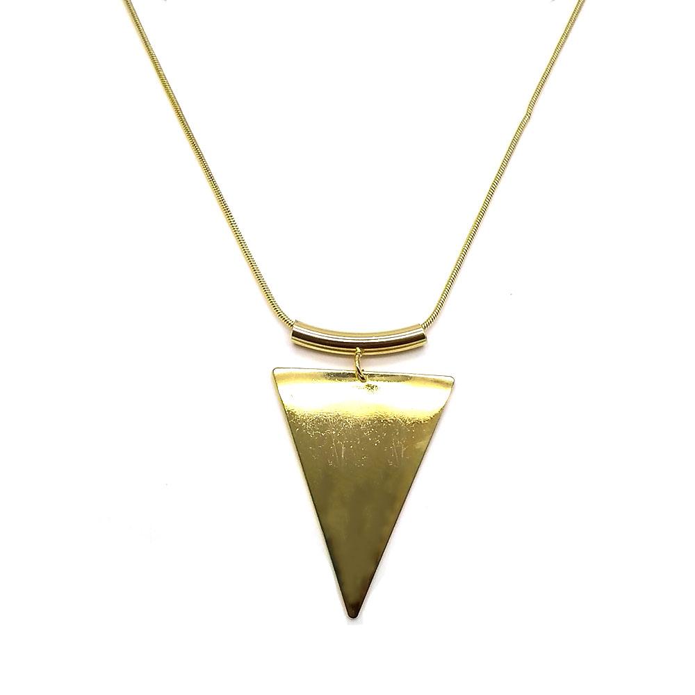 Maxi Colar com Pingente de Triangulo Folheado a Ouro 18K