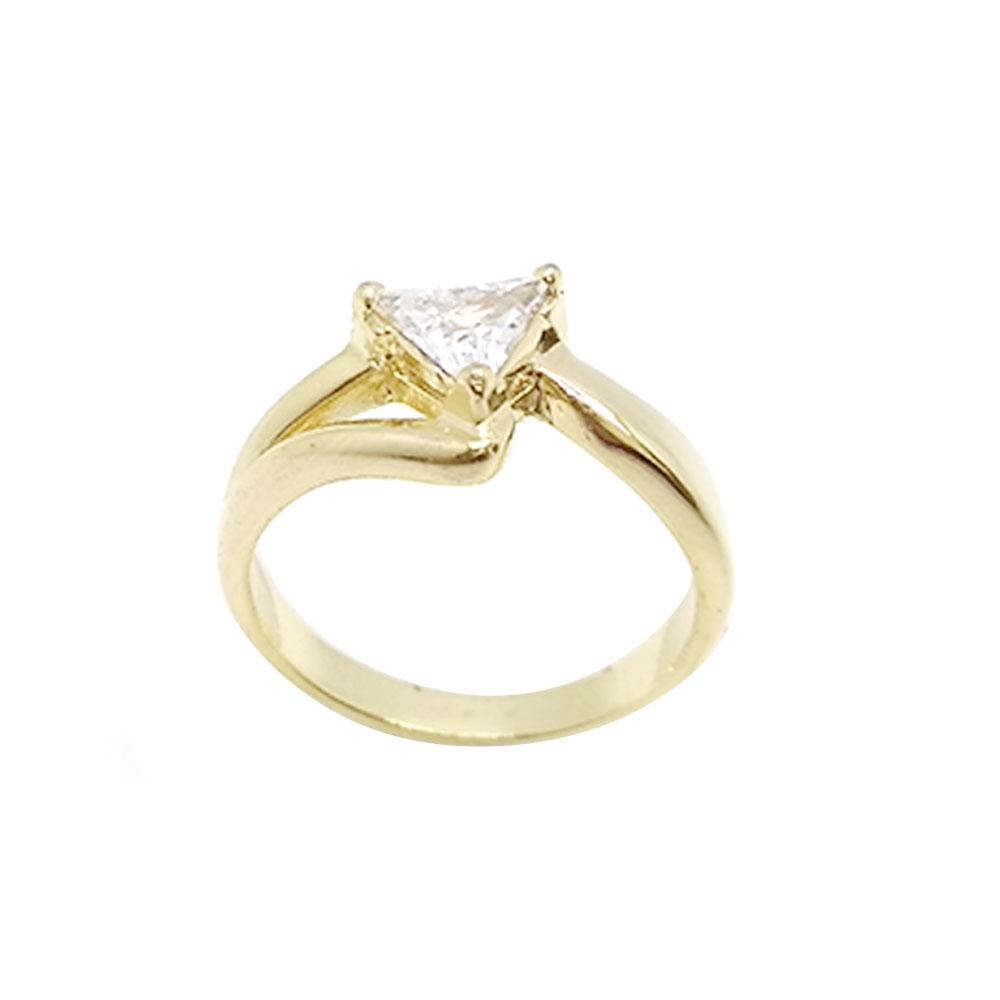 Anel Solitário Pedra Zircônia  Triangular Folheado a Ouro 18K