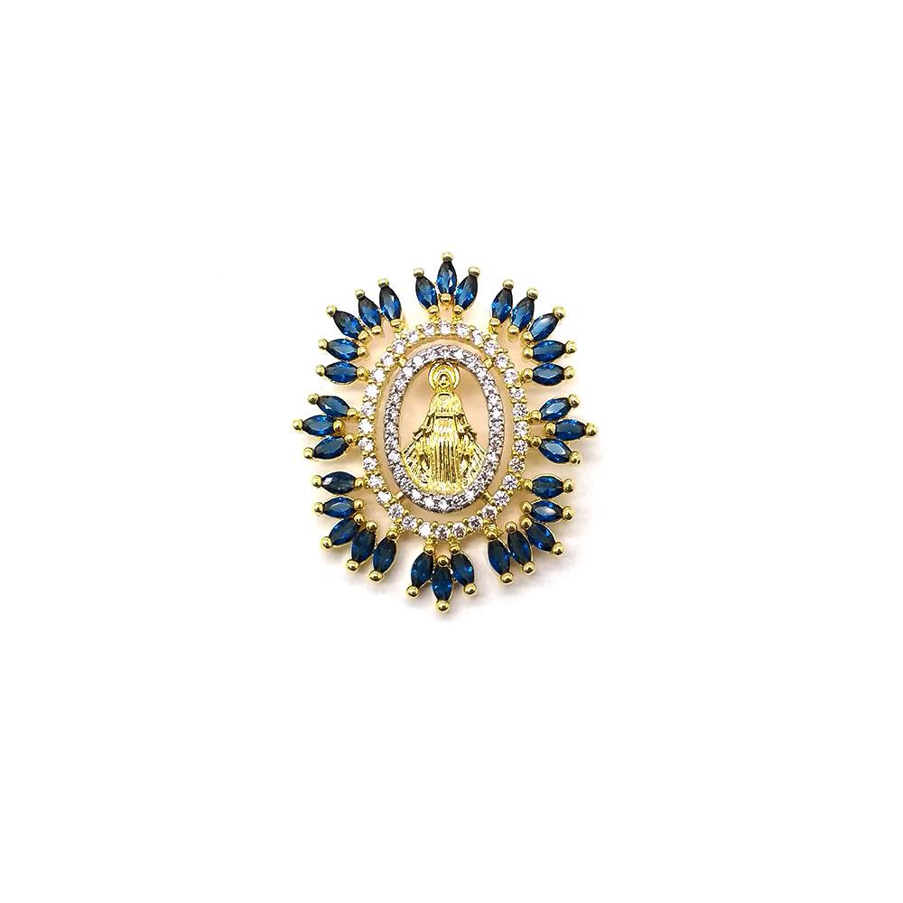 Pingente Nossa Senhora das Graças com Pedras Azuis Folheado a Ouro 18K