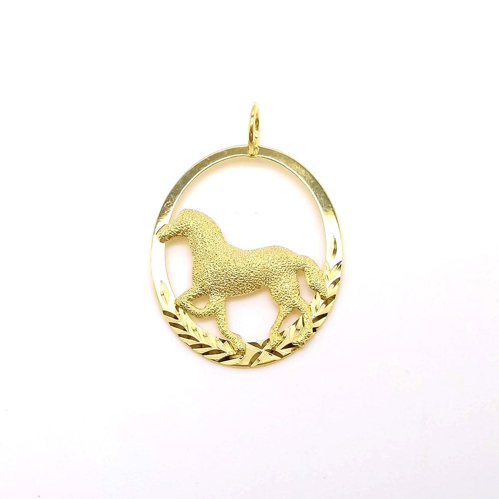 Pingente Cavalo Rodinado Folheado em Ouro 18k