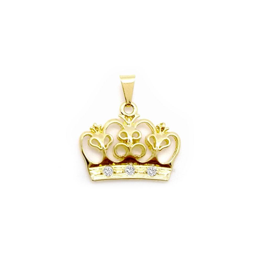 Pingente Coroa com Pedras de Zircônia Folheado a Ouro 18K