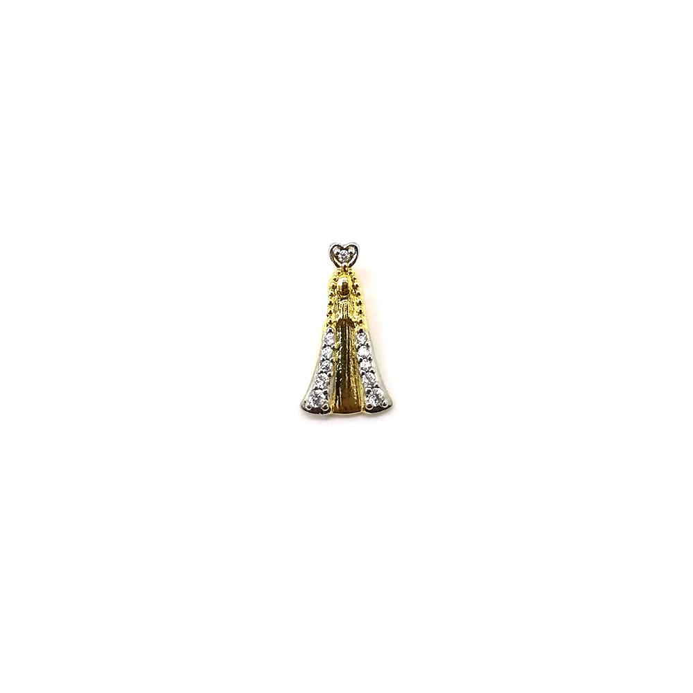 Pingente Nossa Senhora de Fátima Folheado a Ouro 18K