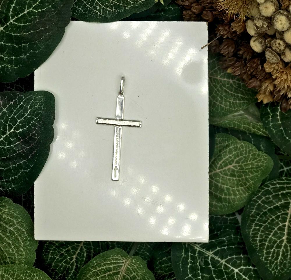 Pingente Cruz Santificado seja o vosso nome em Prata 925