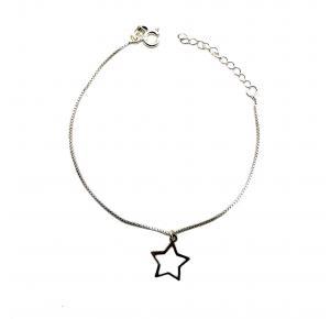 Pulseira Feminina com Pingente de Estrela em Prata