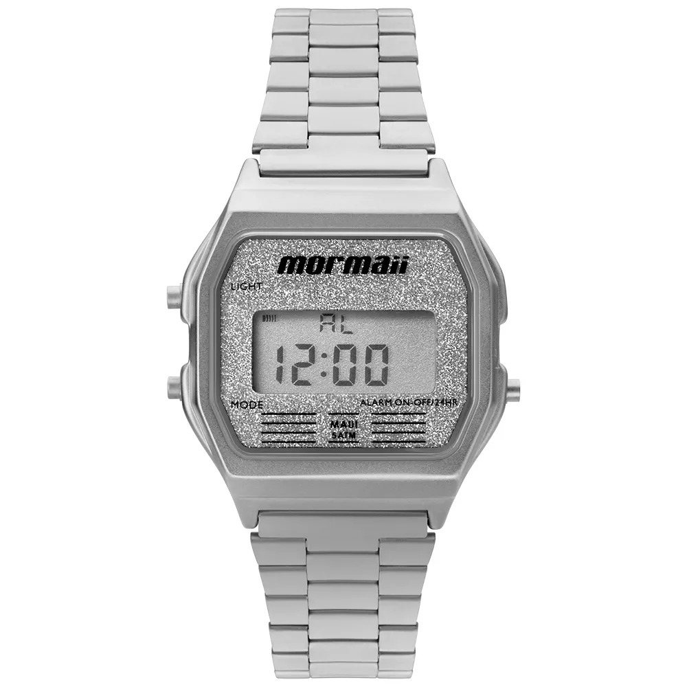 Relógio Digital Mormaii Vintage Prata Unissex MOJH02AE/3B