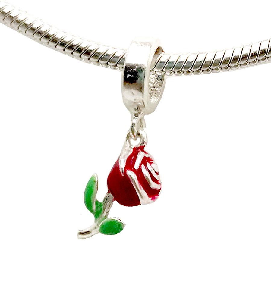 Berloque rosa vermelha em prata 925