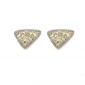 Brinco Semi Joia Triangular com Pedras Verde Água Folheado a Ouro 18K