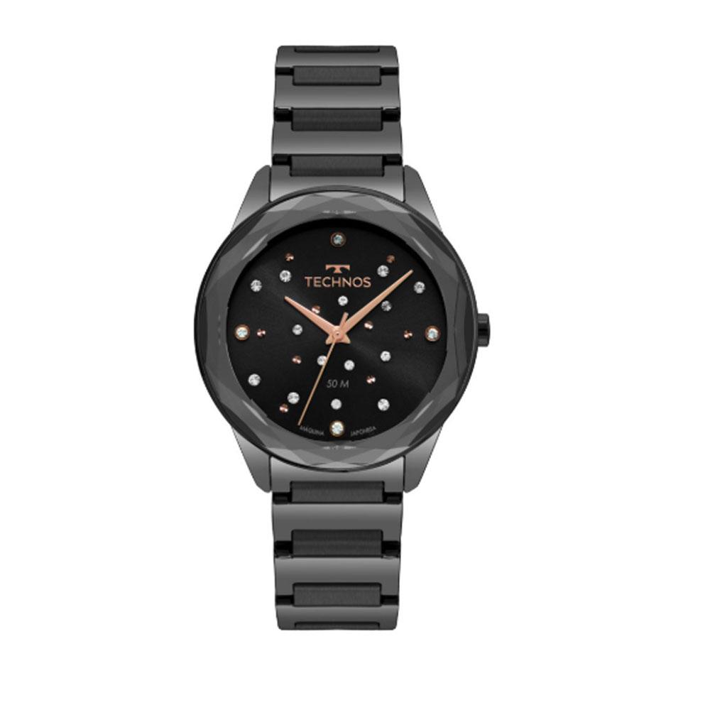 Relógio Technos Elegance Crystal Preto Feminino 2036MKK/4P