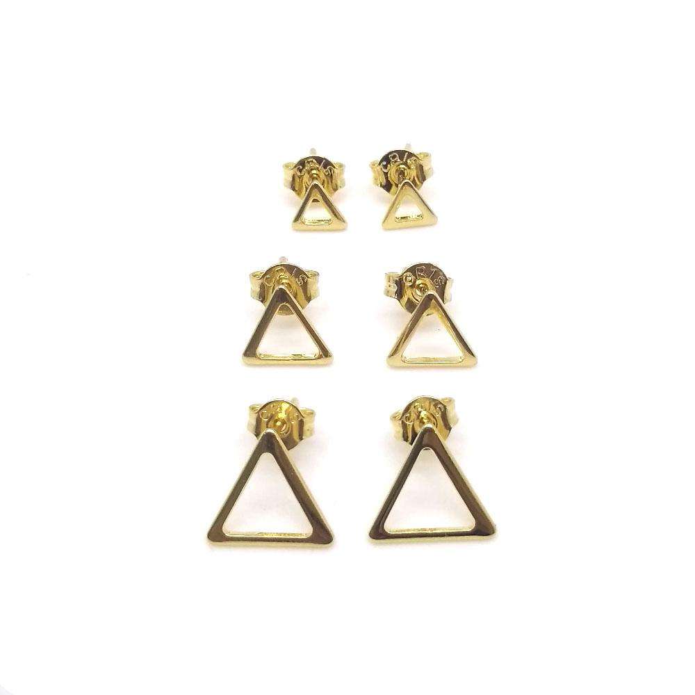 Trio Brinco Triângulo Vazado Folheado a Ouro 18K